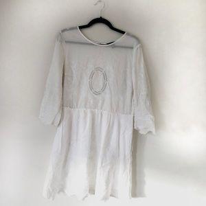 White Cotton Broderie Mini Dress